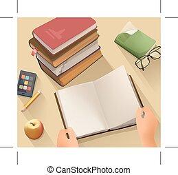 libro, aperto, scrivania