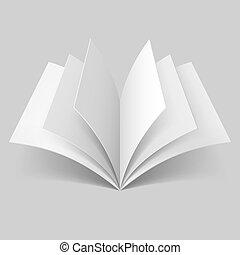 libro, aperto, vuoto