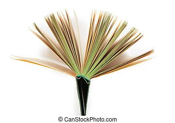 libro, apertura, como, ventilador