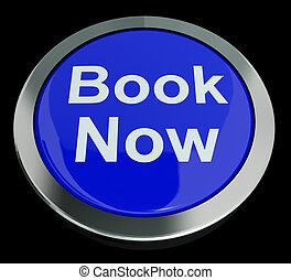 libro azul, ahora, botón, para, hotel, o, vuelo, reservación