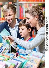 libro, biblioteca, famiglia, lettura