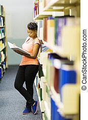 libro biblioteca, università, africano, lettura ragazza