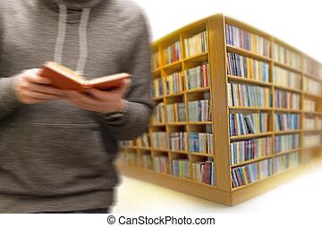 libro, biblioteca, uomo