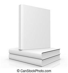 libro blanco, cubierta, vacío, 3d