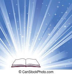 libro, brillante blu, fondo, aperto