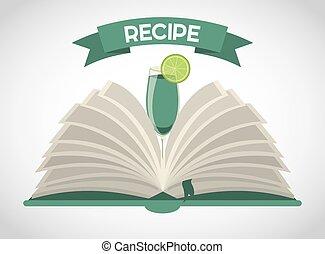 libro, cóctel, receta