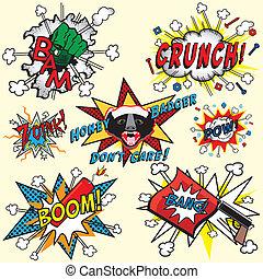 libro cómico, explosiones, pensamientos