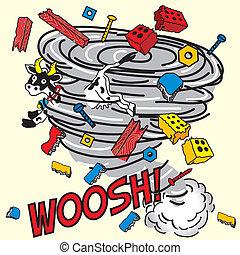 libro cómico, inspirado, tornado!