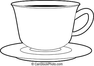 Taza Para Café Símbolo Debajo Libros Negro Aprender