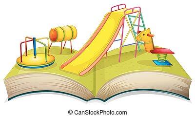 libro, campo di gioco, scena