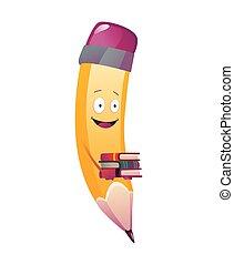 libro, carácter, cara, lápiz, cartoon., ilustración, lindo, brazos, humanized, emoji