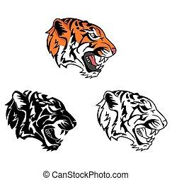 libro, carácter, tigre, colorido, rugido