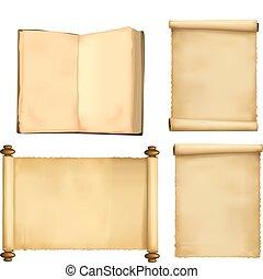 libro, carta lenzuola, vecchio, set