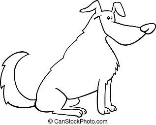 libro, cartone animato, coloritura, cane, seduta