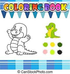 libro, cartone animato, coloritura, coccodrillo, felice