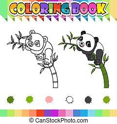libro, cartone animato, coloritura, felice, panda