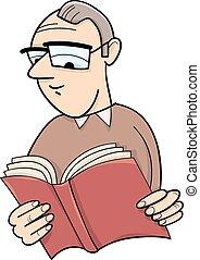 libro, cartone animato, illustrazione, lettore