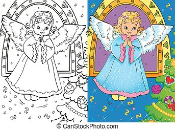 libro colorante, angelo, natale