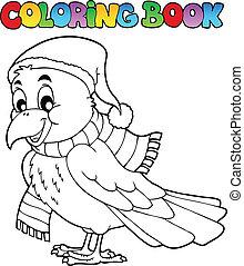 libro colorante, cartone animato, corvino