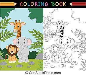 libro colorante, cartone animato, safari, animale