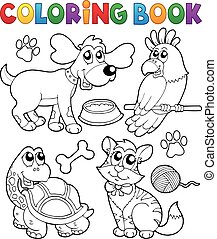 libro colorante, con, animali domestici