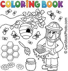 libro colorante, con, apicoltore