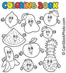 libro colorante, con, cartone animato, frutte, 1