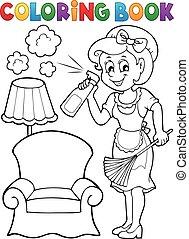 libro colorante, con, casalinga