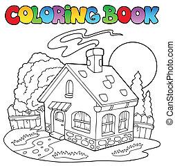 libro colorante, con, piccola casa