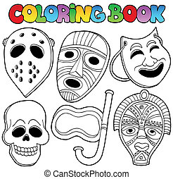 libro colorante, con, vario, maschere