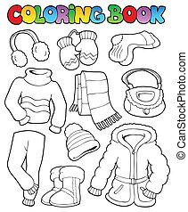 libro colorante, inverno, abbigliamento, 1