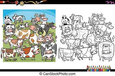 libro colorante, mucca, caratteri