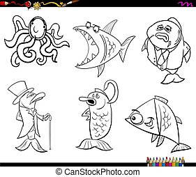 libro colorante, pagina, animali, vita, mare, cartone animato
