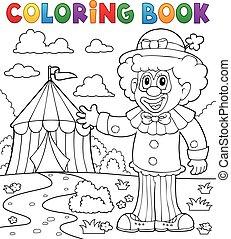 libro colorante, pagliaccio, appresso, circo, tema, 1