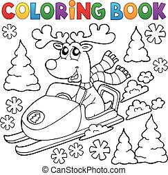 libro colorante, renna, in, snowmobile