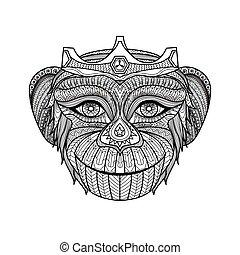 libro colorante, scimmia