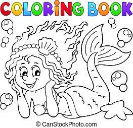 libro colorante, sirena, felice