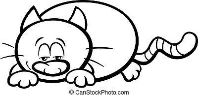 libro colorante, sonnolento, cartone animato, gatto