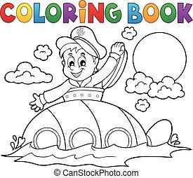 libro colorante, sottomarino, con, marinaio