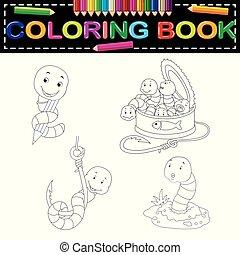 libro colorante, verme