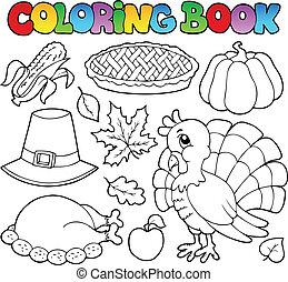 libro colorear, acción de gracias, imagen, 1