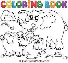 libro colorear, alegre, elefantes