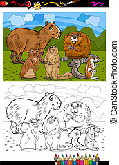libro colorear, animales, caricatura, roedores