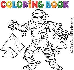 libro colorear, antiguo, momia