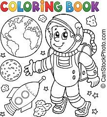 libro colorear, astronauta, tema, 1