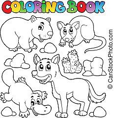 libro colorear, australiano, fauna, 1