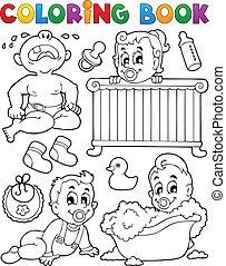 libro colorear, bebes, tema, imagen, 1