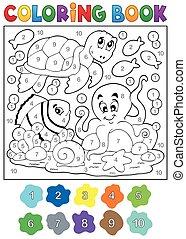 libro colorear, con, animales de mar, 4