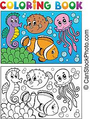 libro colorear, con, animales marinos, 4