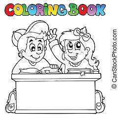 libro colorear, con, dos, alumnos